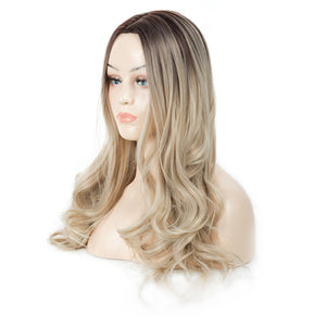 Ombre Color Body Wave Synthetic Wigs, Medium Length Synthetic Wig.