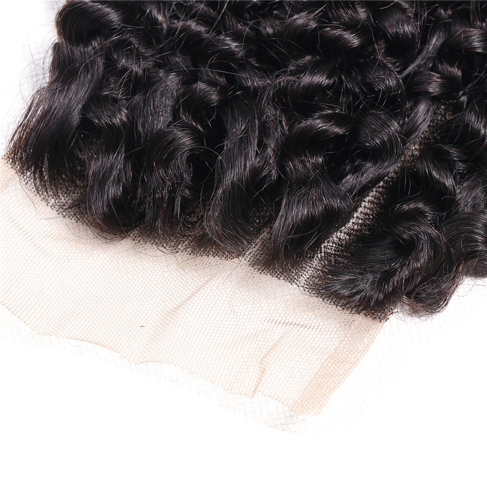 "Donmily Kinky Curly 4*4 Lace Closure Three Part Middle Part And Free Part 10""-20"" 1pc"