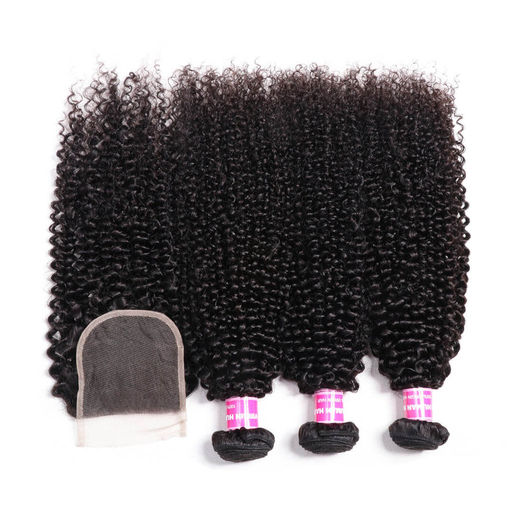 Donmily Malaysia Kinky Curly Human Hair Weave 3 Bundles With 4*4 Lace Closure Free Part