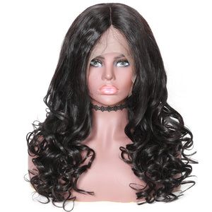 "Donmily Hair 150% & 180% Density Natural Wave 360 Lace Wig Black Color, Virgin Human Hair Wig Length 14""-24"""
