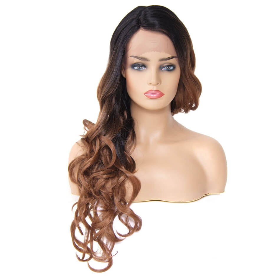 Romance Curl Synthetic Wig Ombre Color Lace Front Wig Side Part