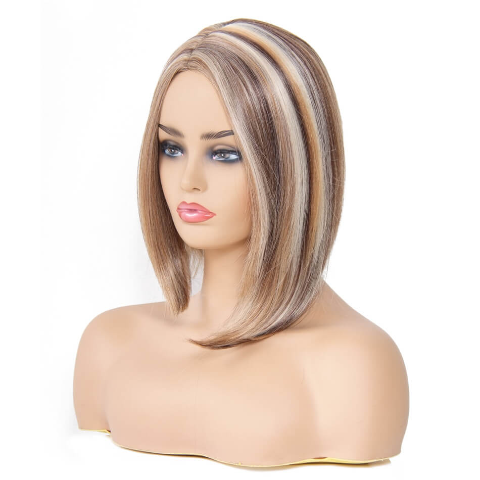 Donmily Fashion Straight Bob Wig Color P4-27-613# Synthetic Bob Wigs Side Part