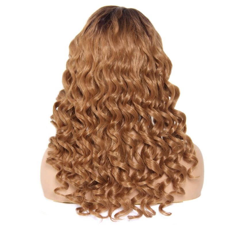 Wavy Synthetic Wigs Lace Front With Lace Hair Part Color T4/27#