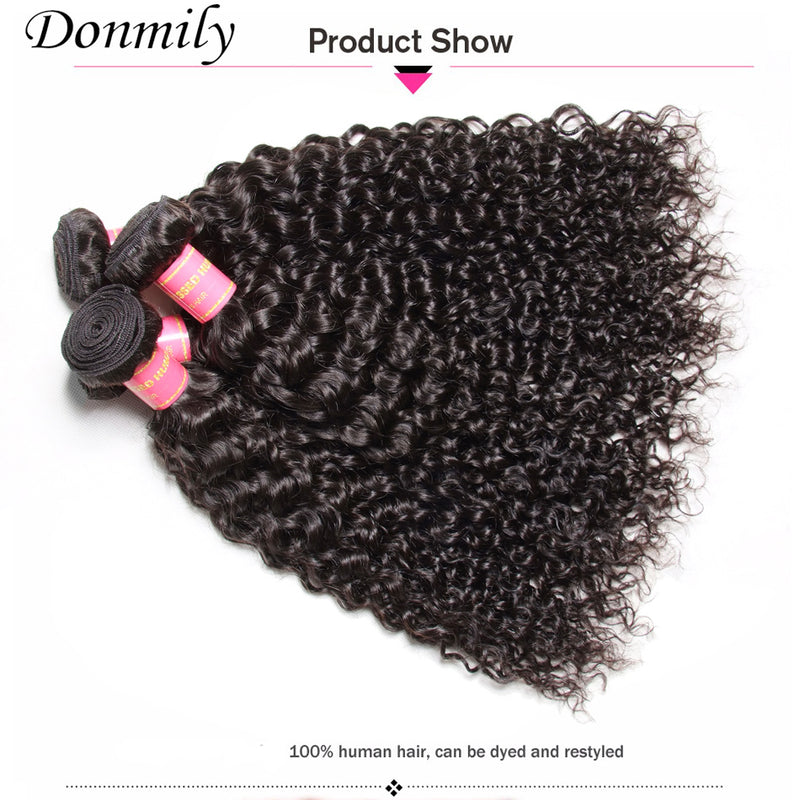 Donmily Hair Virgin Malaysian Curly Hair 4 Bundles with 4*4 Lace Closure on Sale
