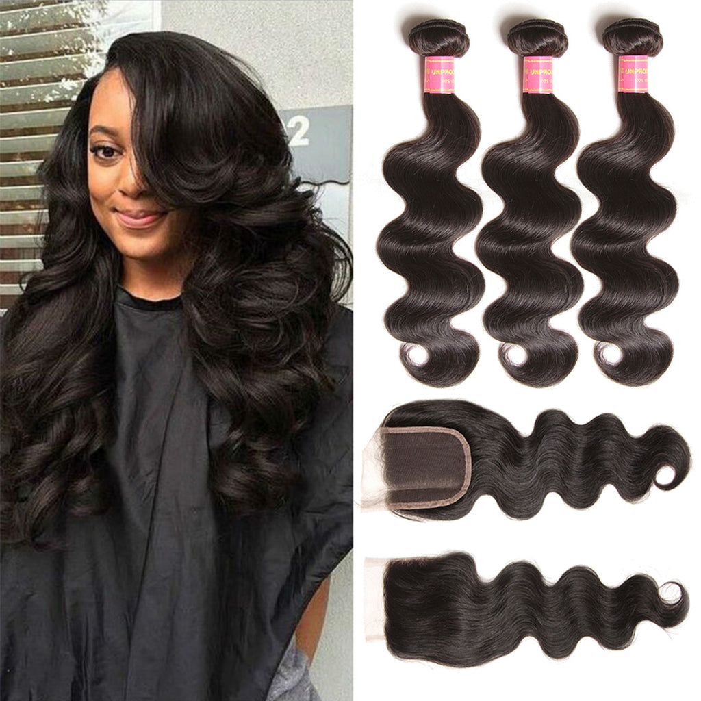 Donmily 9A Grade Brazilian Body Wave Unprocessed Brazilian Virgin Hair 4x4 Free Part Lace Closure With Cheap Human Hair Bundles 3pcs Brazilian Wavy Hair