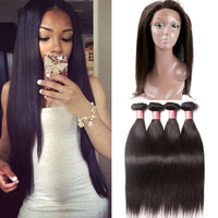 Donmily 3 Bundles Indian Straight Human Hair Weave Bundles With 360 Frontal Closure
