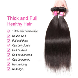 Donmily Affordable 9A Virgin Hair 4 Bundles, Peruvian Straight Hair Weave, 100% Unprocessed Virgin Straight Hair Weave