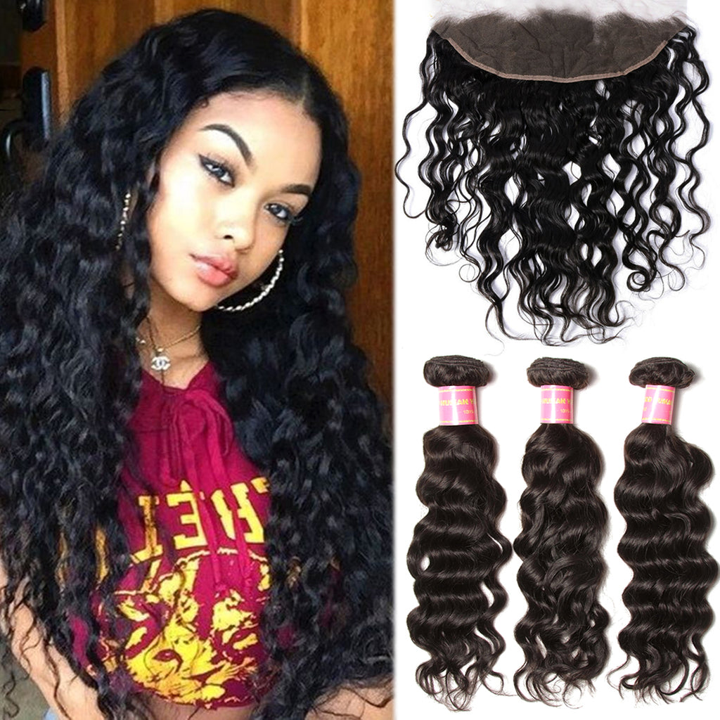 Donmily Hair Indian Natural Wave 3 Bundles with Lace Frontal Closure On Sale