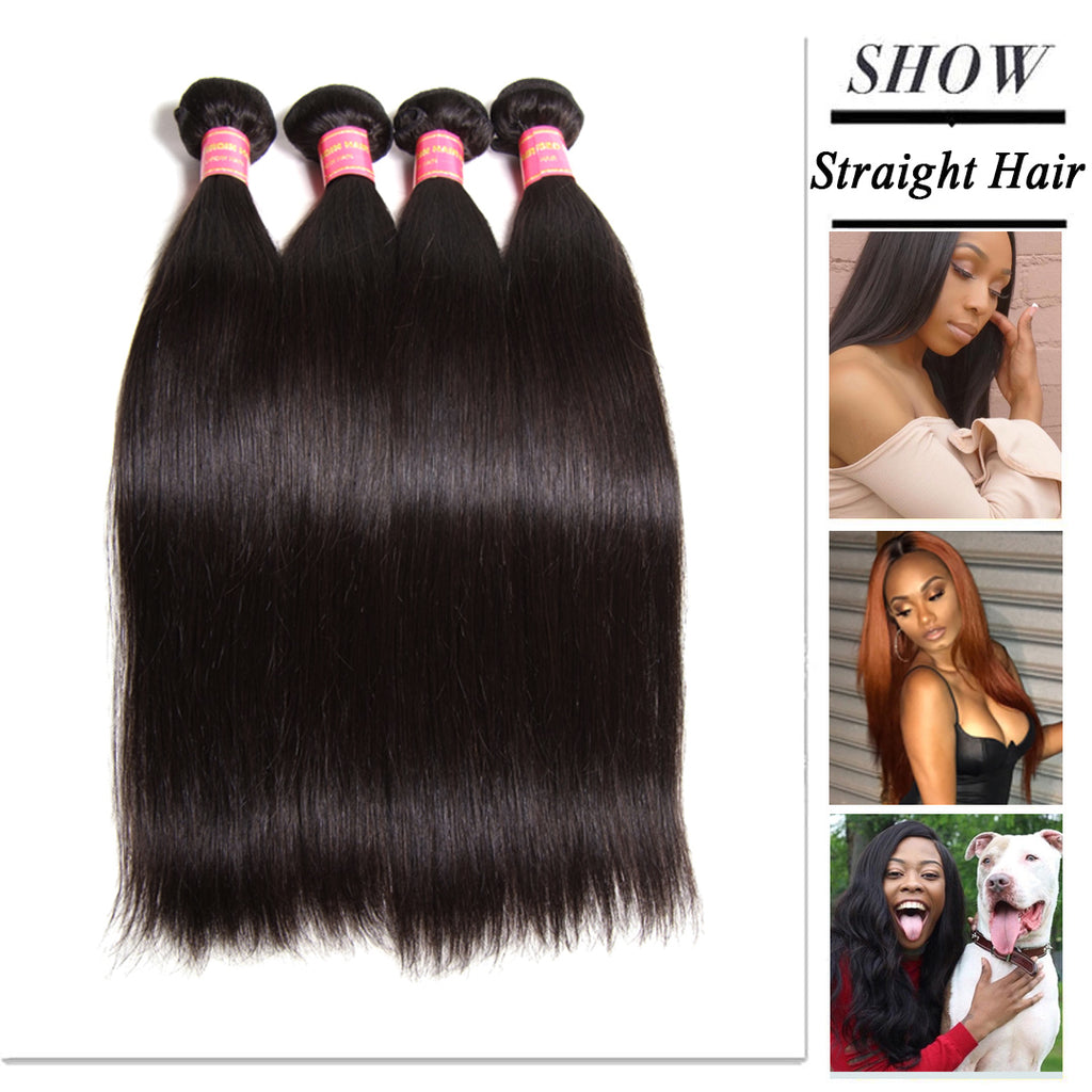 Donmily Soft Virgin Brazilian Straight Hair Weave 4 Bundles Cheap Brazilian Virgin Straight Human Hair Extensions
