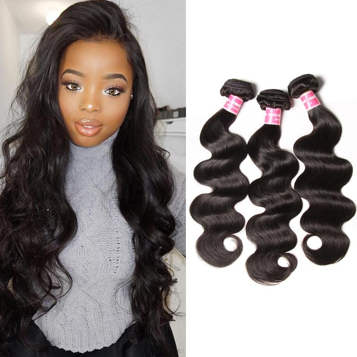 Donmily Hair Virgin Peuvian Body Wave 3 Bundles Deals