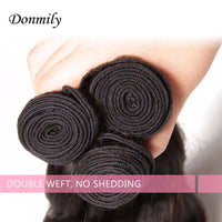 Donmily 3 Bundle Deals Virgin Body Wave Indian Hair Weave With Lace Closure(Free Part)