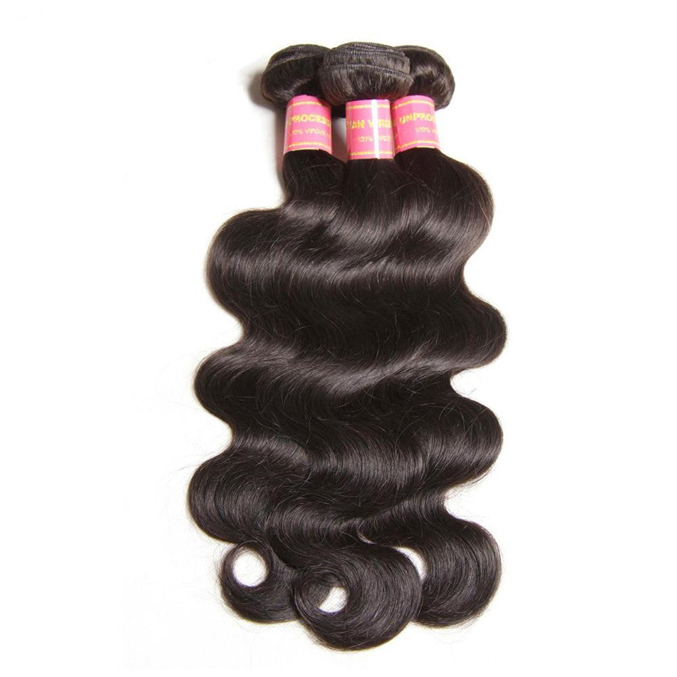 Malaysian Body Wave 3 Bundles, 100% Unprocessed Virgin Human Hair Weave, No Shedding and Tangle Free