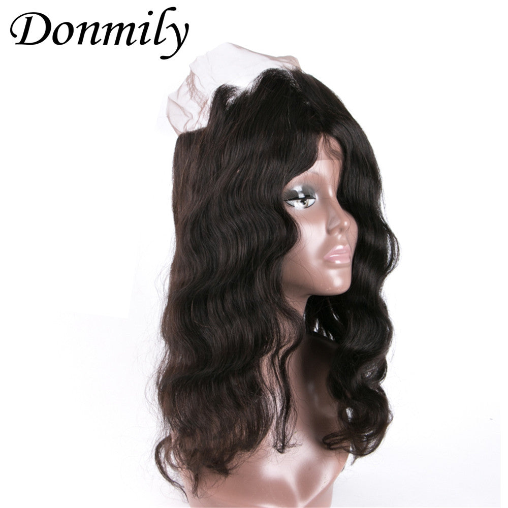 Donmily Brazilian Body Wave 3 Bundles with 360 Frontal Closure Virgin Human Wavy Hair