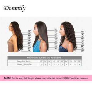 Donmily 9A Grade Brazilian Natural Wave 4 Bundles Human Hair Weft Natural Color 95-100g/PC
