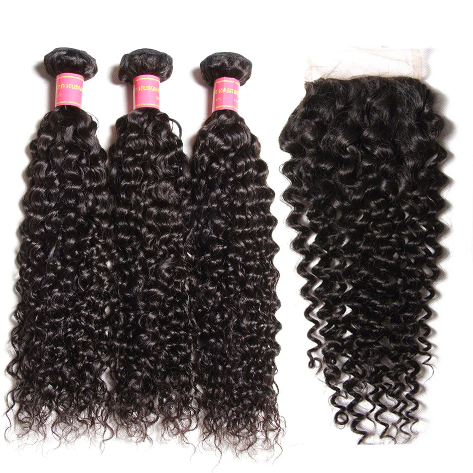 Donmily 3 Bundles Brazilian Jerry Curly Human Hair With 4*4 Lace Closure(Free Part)