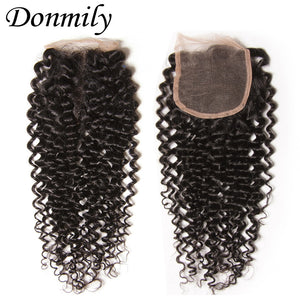 Donmily 3 Bundles Good Quality Virgin Curly Human Hair Bundles With Lace Closure(Middle Part)