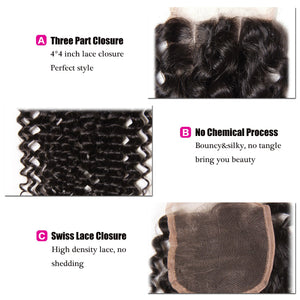 Donmily 3 Bundles Indian Virgin Curly Human Hair Bundles With Lace Closure(Three Part)