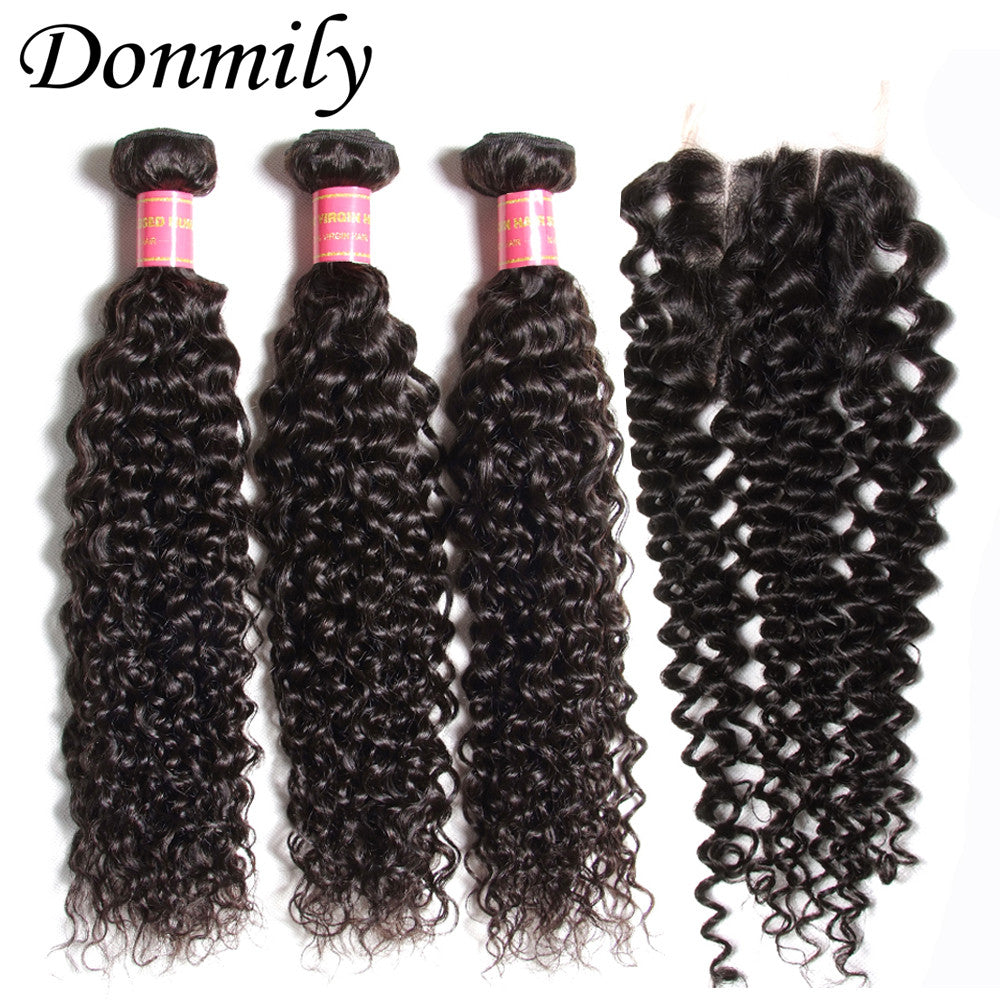 Donmily 3 Bundles Brazilian Virgin Curly Human Hair Bundles With Lace Closure(Three Part)