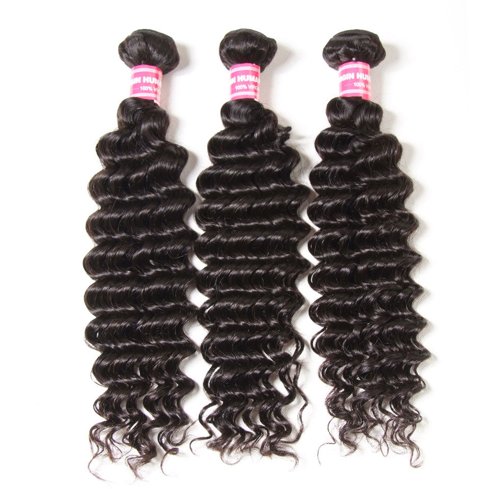 Malaysian Deep Wave Curly Hair 3 Bundles-Donmily Hair