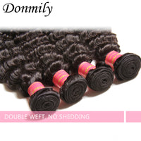Donmily 3pcs Virgin Deep Wave Brazilian Hair Weave Human Bundles With Lace Closure(Free Part)