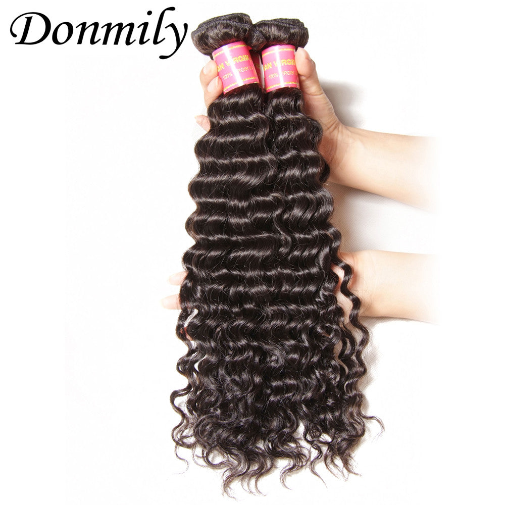 Donmily 4pcs/Lot Virgin Brazilian Deep Wave Hair Weft Human Hair Extensions