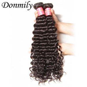 Donmily 9A Unprocessed Virgin Indian Deep Wave Hair 3 Bundles Human Hair Weave