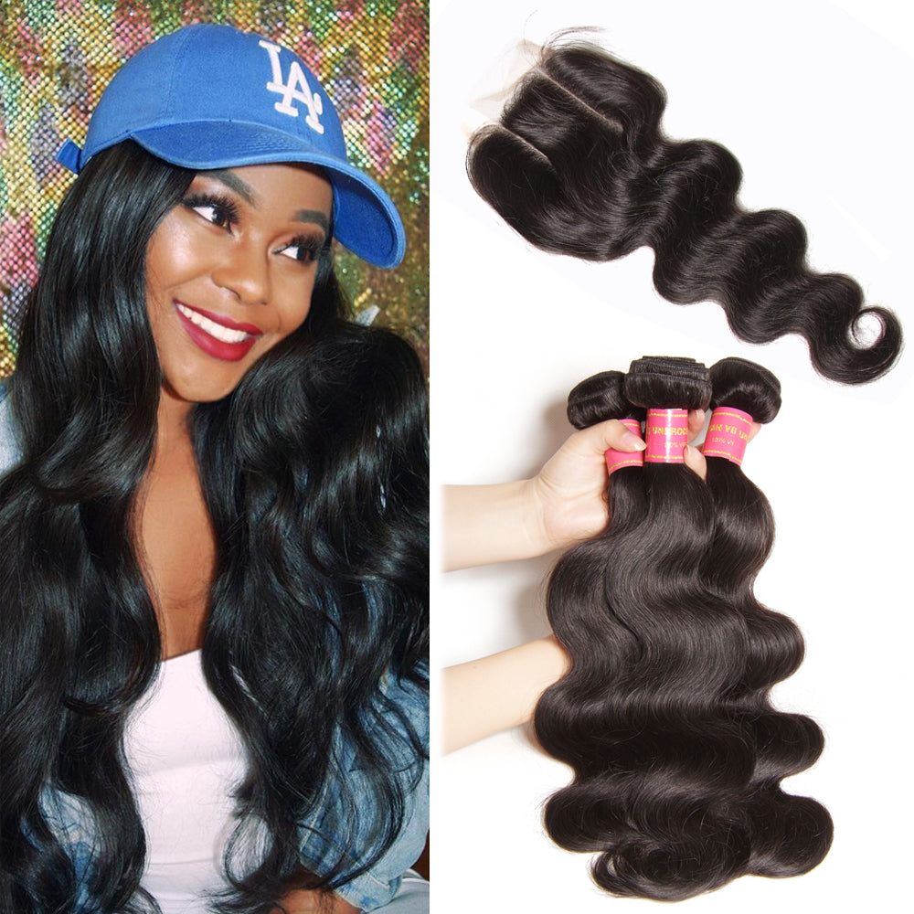 Donmily 3 Bundle Deals Virgin Body Wave Brazilian Hair Weave With Lace Closure(Three Part)