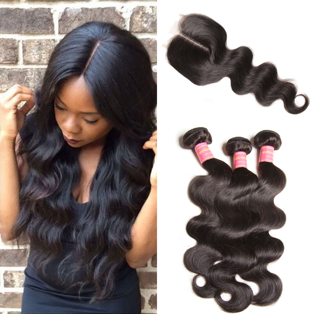 Donmily 3 Bundles Deals Virgin Body Wave Brazilian Hair Weave With Lace Closure(Middle Part)