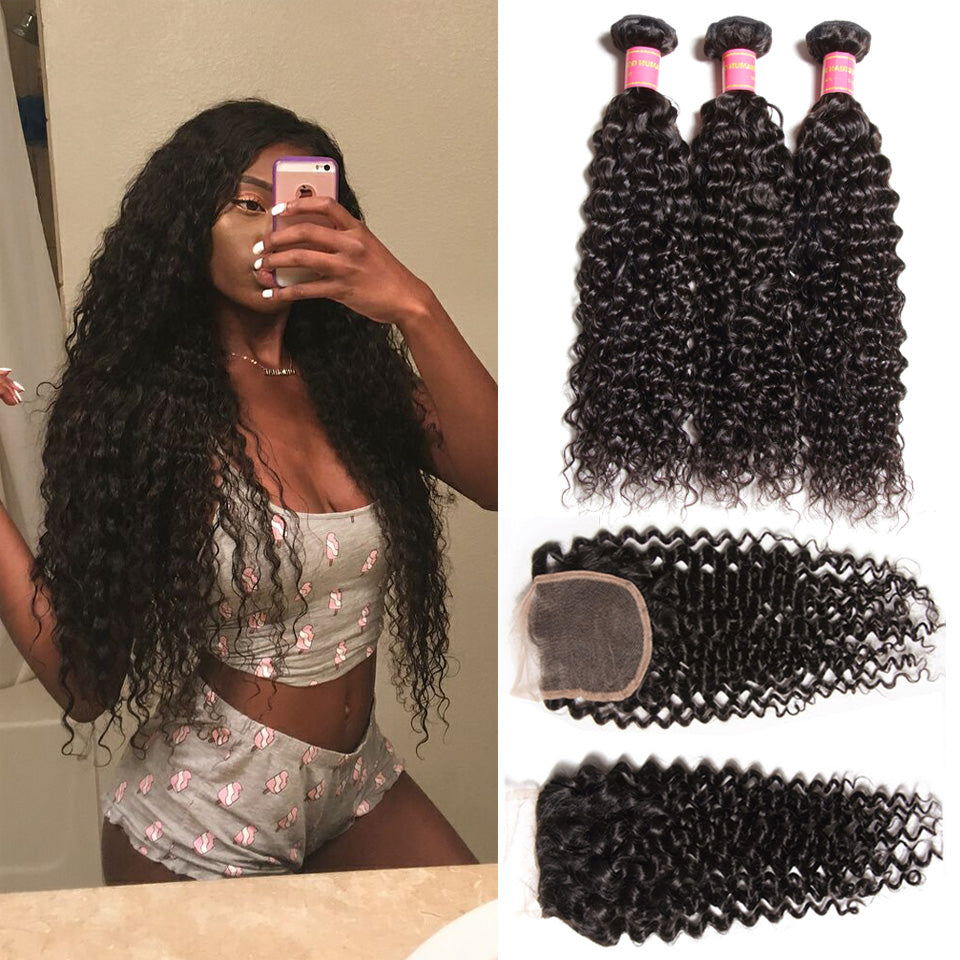 Donmily Hair Malaysian Virgin Curly Hair 3 Bundles with 4*4 Lace Closure