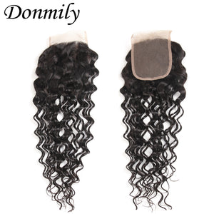 Donmily 3 Bundle Deals Virgin Natural Wave Brazilian Hair Weave With Lace Closure(Free Part)