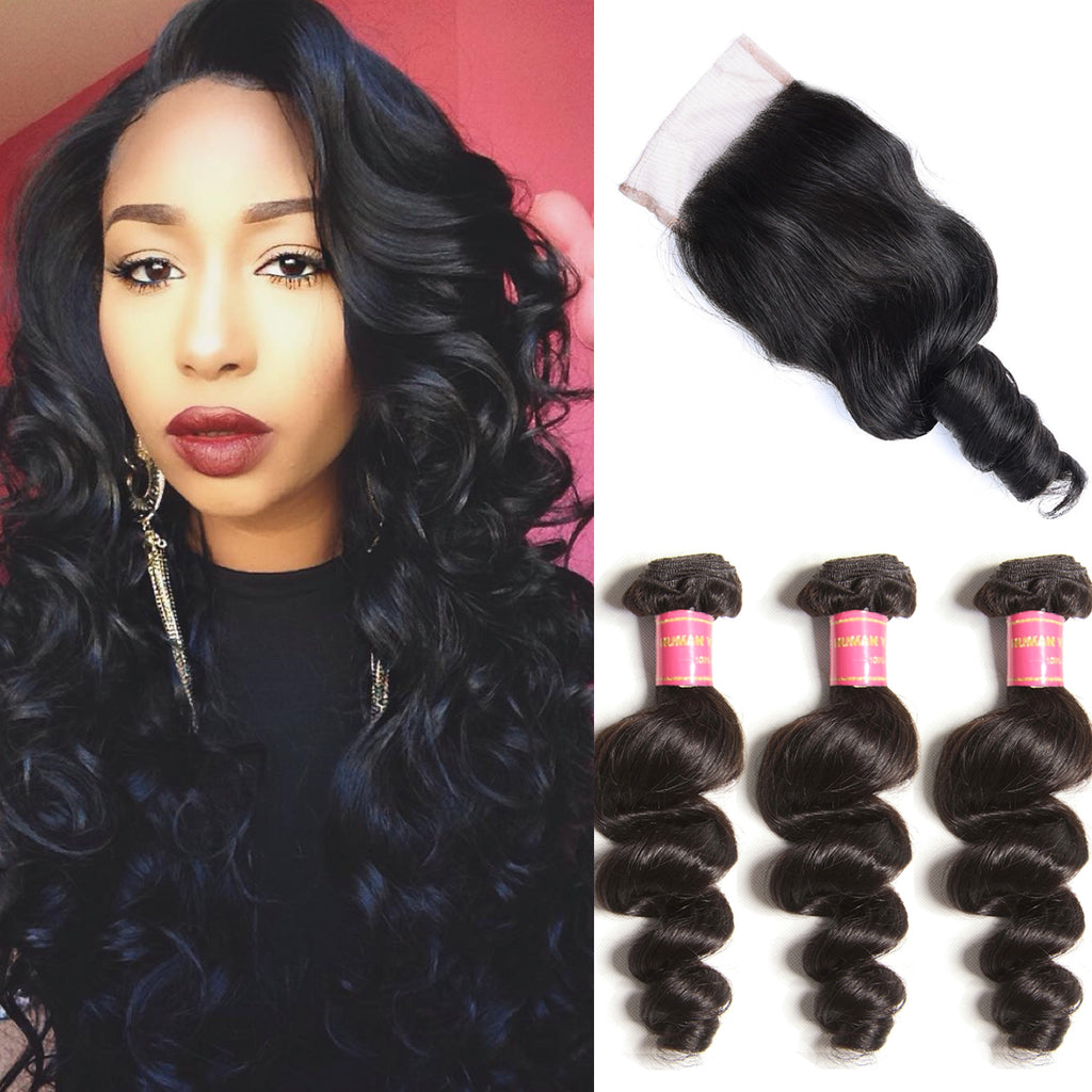 3 Bundles Virgin Brazilian Loose Wave with Free Part Lace Closure Deals-Donmily Hair