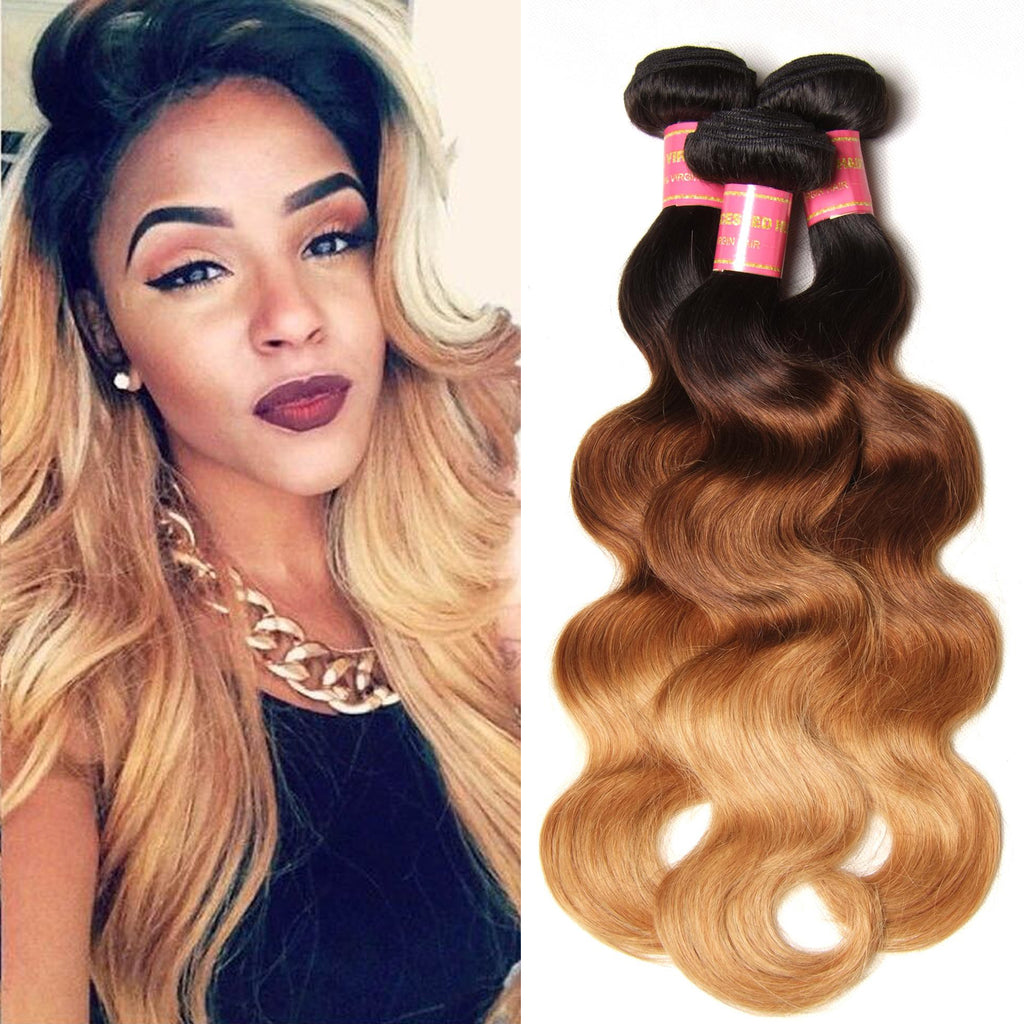 Donmily Ombre Human Virgin Hair 3pcs/pack Three Tone Ombre Body Wave Virgin Hair (#1B/4/27)