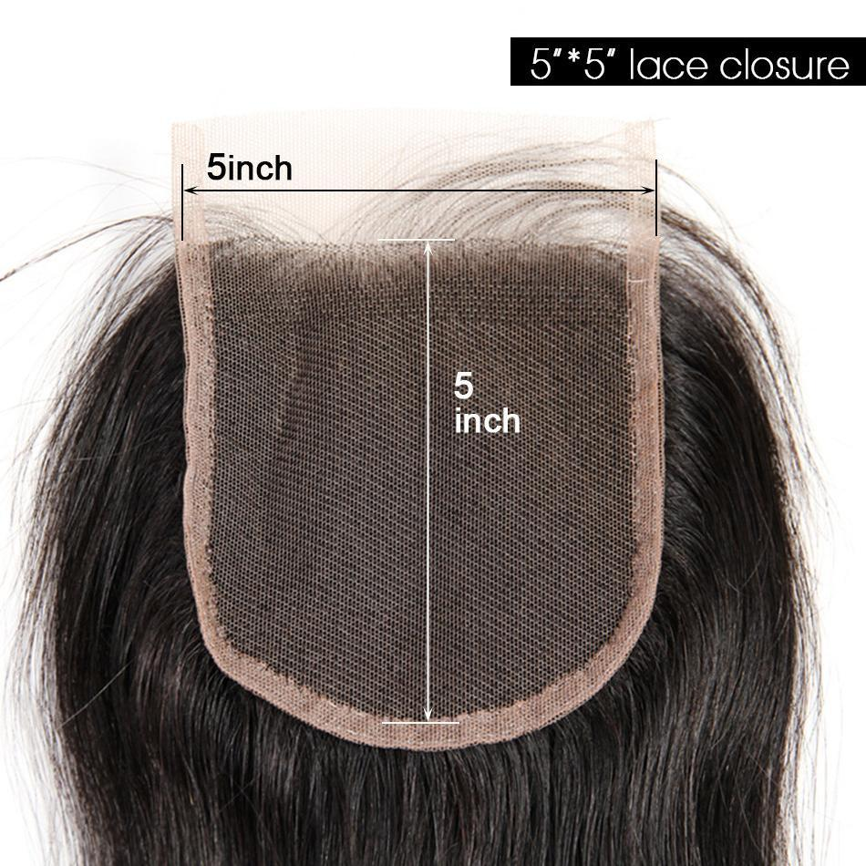 Straight Hair 5*5 Lace Closure Free Part With Baby Hair Black Color 1pc-Donmily Hair