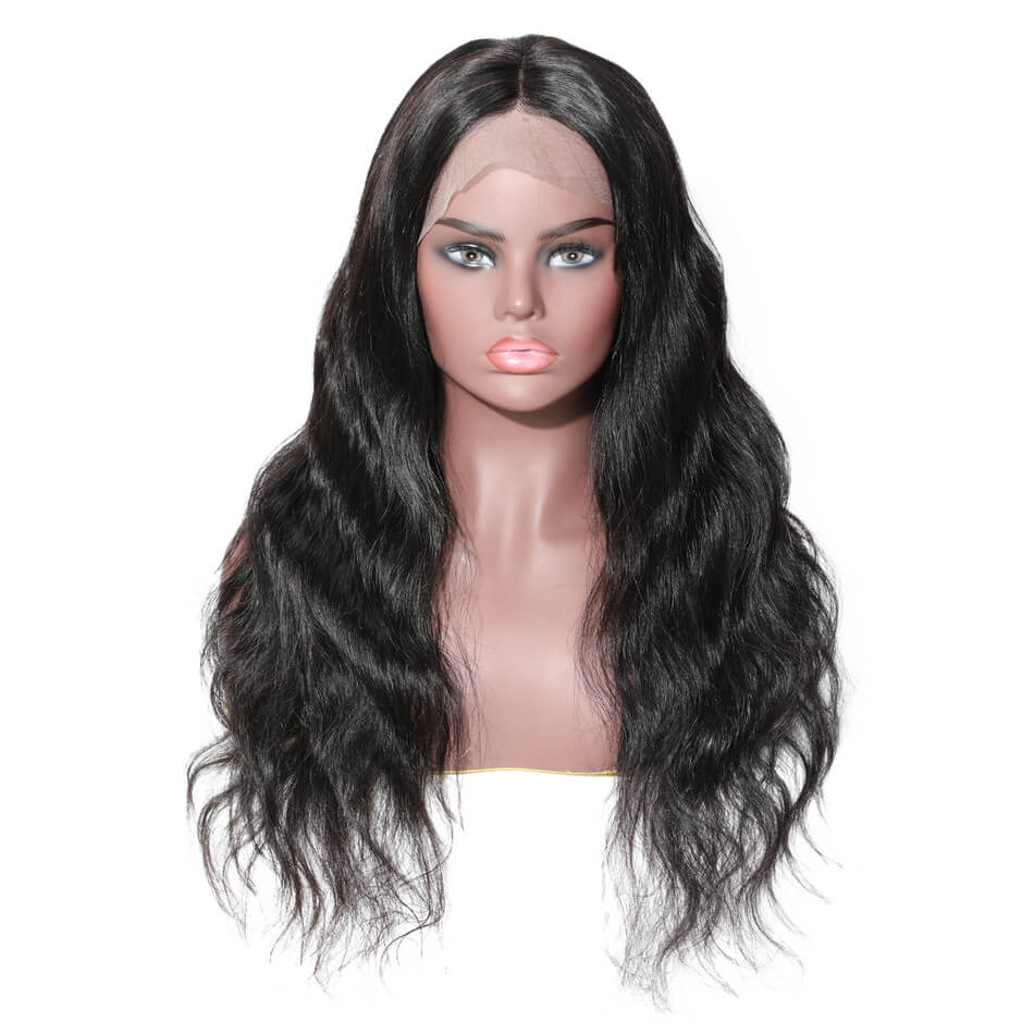 Donmily Hand Made Body Wave Full Lace Wig 150% & 180% Density Black Color, Very Light And Breathable Virgin Human Hair Wig