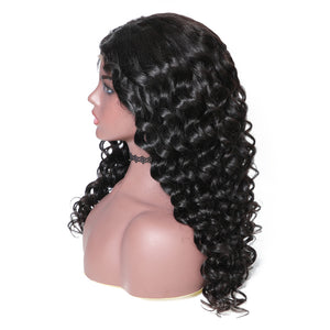 Donmily 150% Density Italian Curl 13*6 Lace Front Human Hair Wigs With Baby Hair 12''-24'' Black Color
