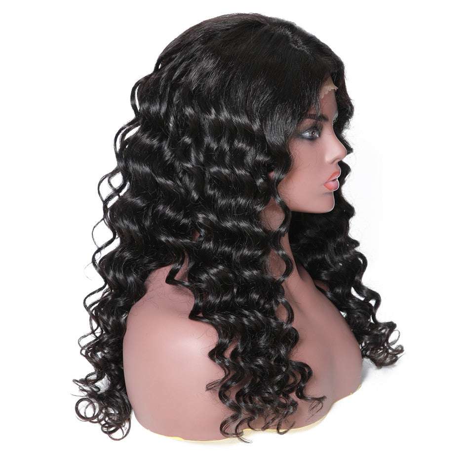150% Density Italian Curl 13*6 Lace Front Human Hair Wigs With Baby Hair 12''-24'' Black Color-Donmily