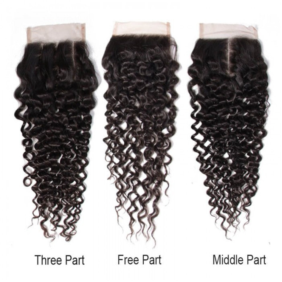 "4*4 Lace Closure Jerry Curly Three part Middle Part and Free Part 8""-20""-Donmily"