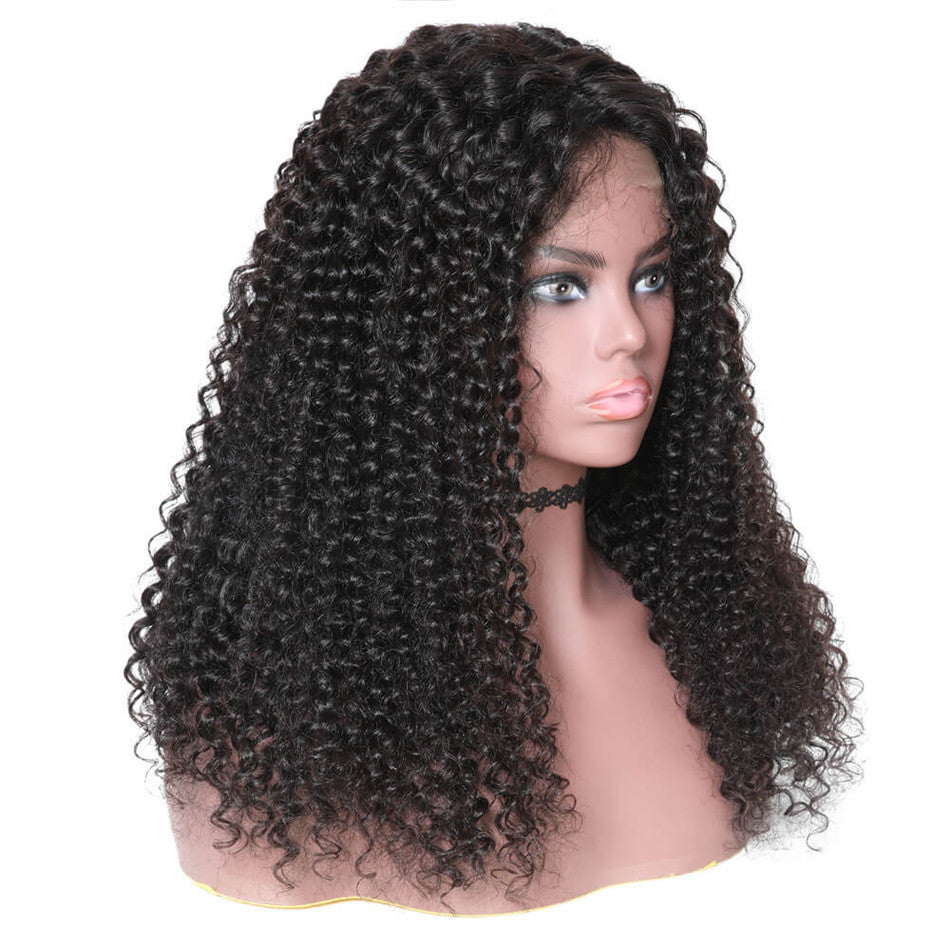 13*6 Lace Front Human Hair Wigs Jerry Curly 150% Density With Baby Hair 10''-24'' Black Color-Donmily