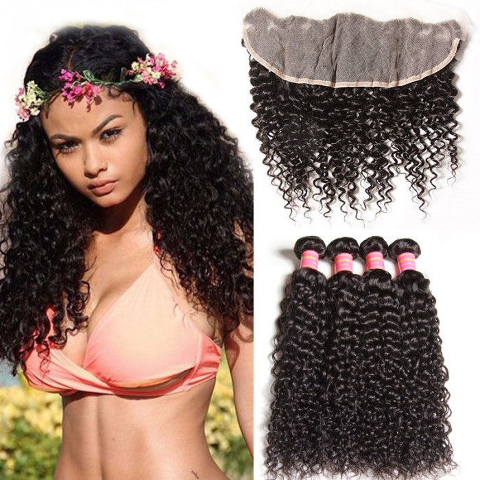 Donmily 4 Bundles Virgin Indian Curly Hair Weave With 13*4 Lace Frontal Closure