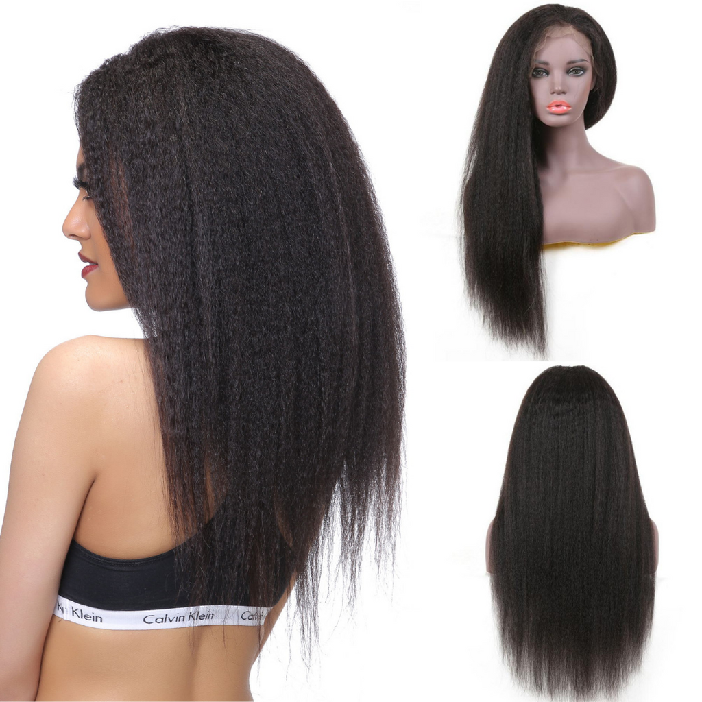 Donmily 13*4 Lace Front Kinky Straight Wig With Baby Hair 130% & 150% Density, 100% Virgin Brazilian Human Hair Wigs