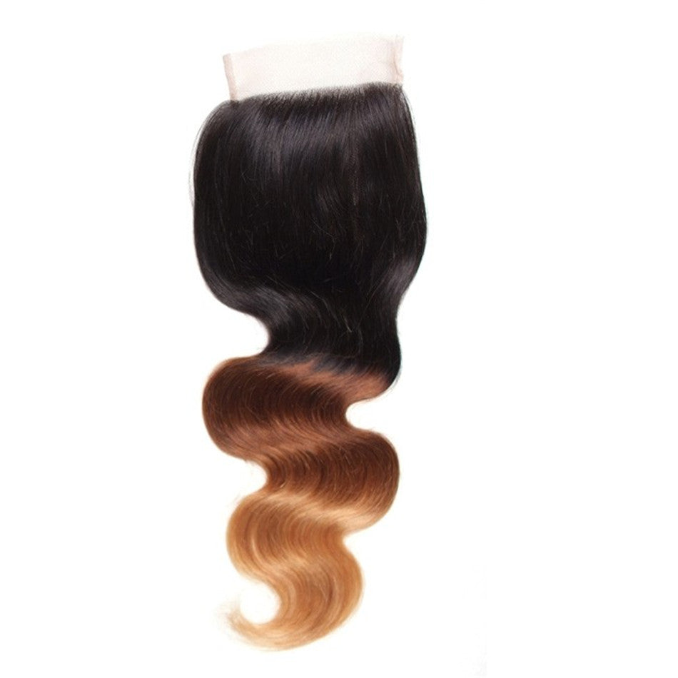 "1pc Body Wave Lace Closure Ombre Color T1B/4/27# Size 4""x4"" Free Part Virgin Hair-Donmily"