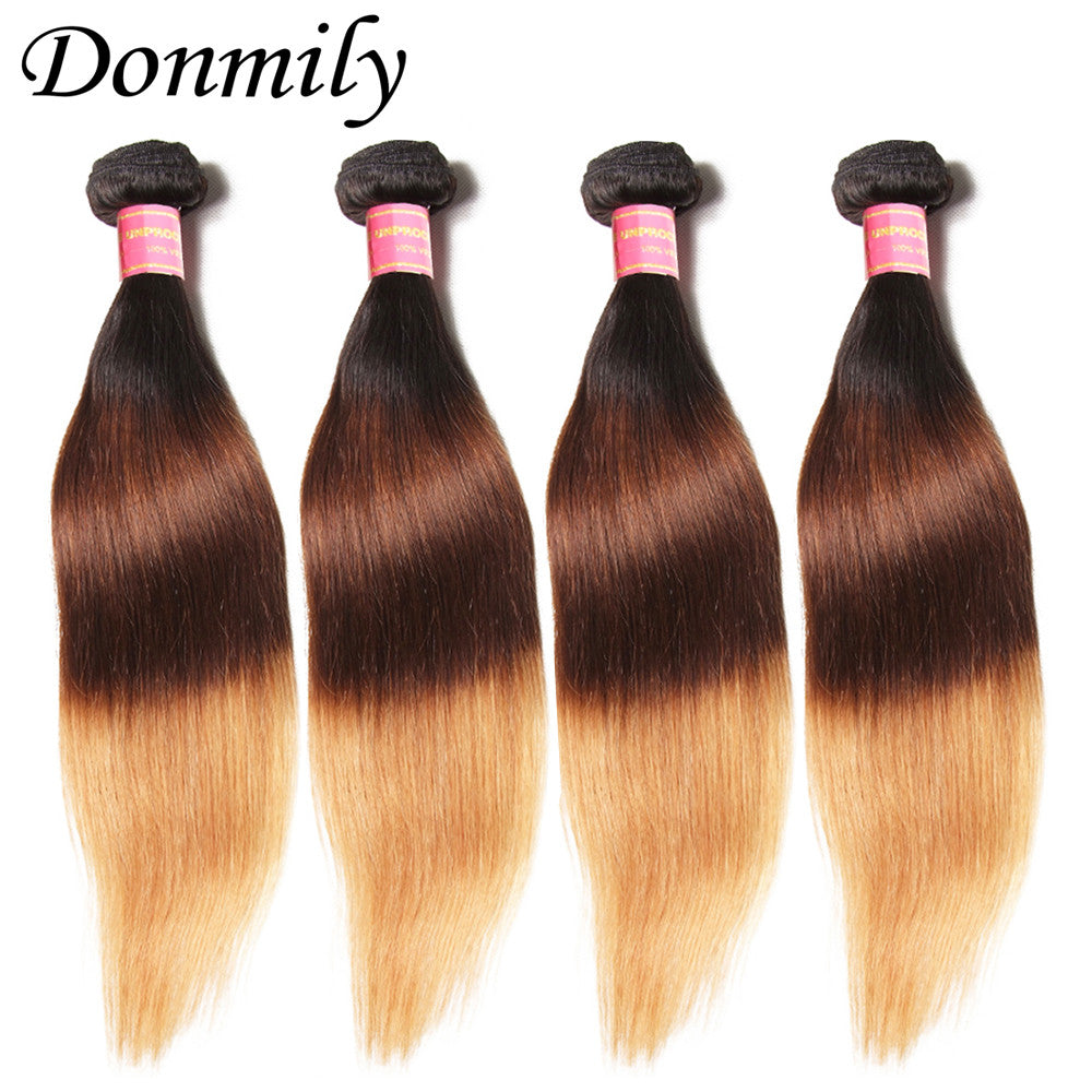 Donmily Three Tone Brazilian Ombre Straight Virgin Hair Weave 4 Bundles