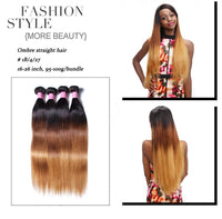 Donmily Three Tone Indian Ombre Straight Virgin Hair Weave 4 Bundles
