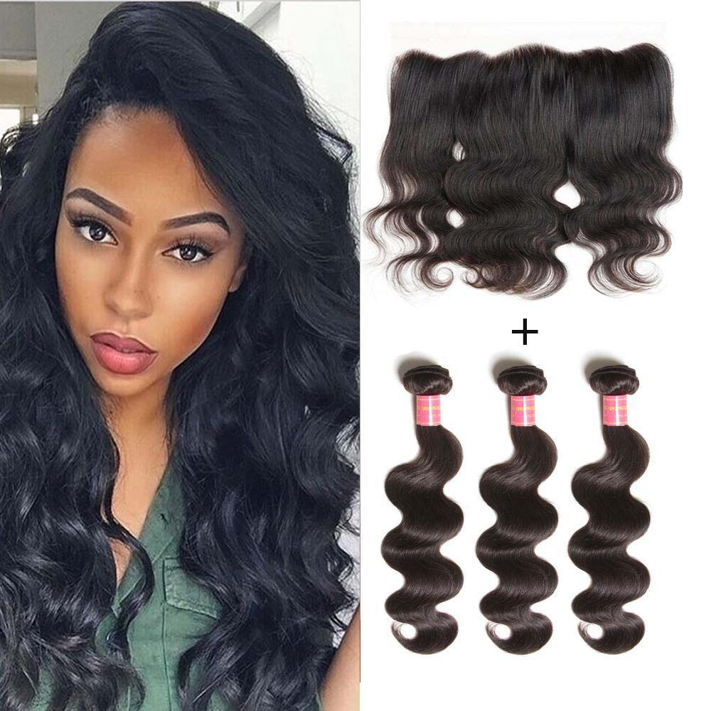 Donmily Virgin Peruvian Body Wave Hair Weave 3 Bundles with Lace Frontal Hair Closure 13*4 Ear to Ear