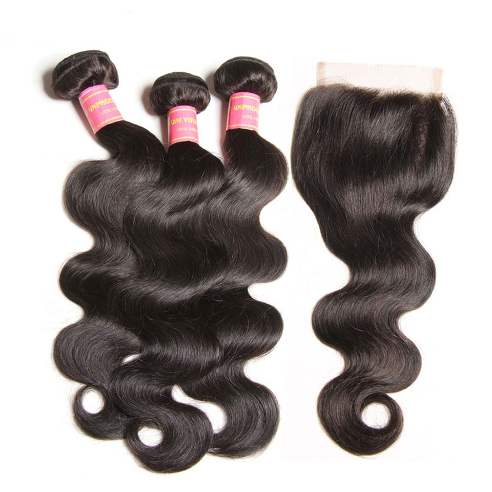 Donmily Peruvian Body Wave 3 Bundles with 4*4 Lace Closure