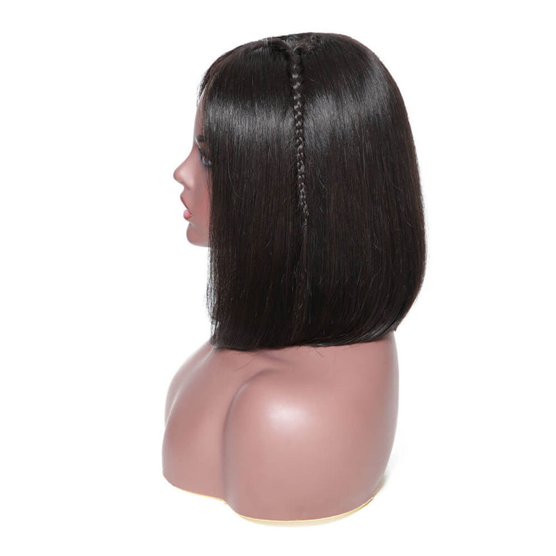 13*6 Lace Front Wig Straight Bob For Black Women,150% Density Black Color, 100% Virgin Human Hair-Donmily Hair
