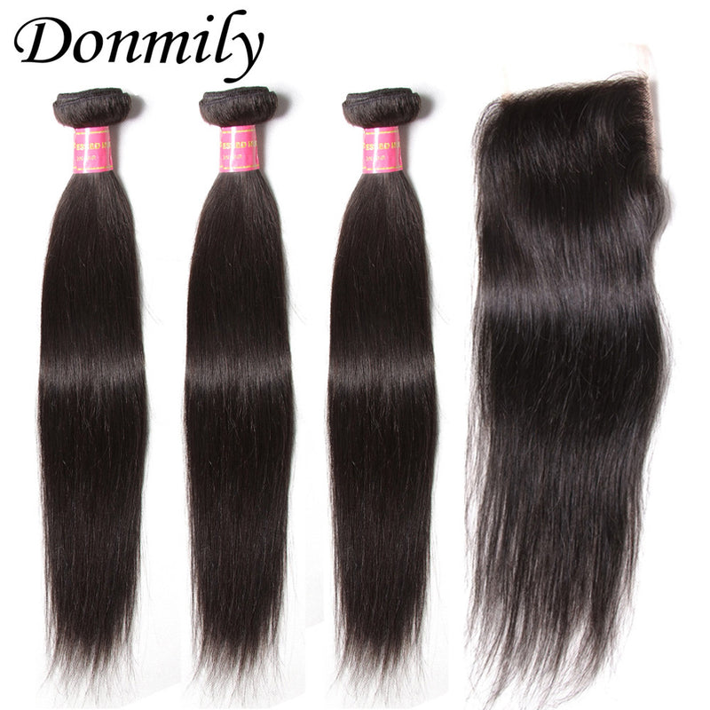 Donmily 3Pcs Human Virgin Brazilian Hair Straight Bundles With Lace Closure(Free Part)
