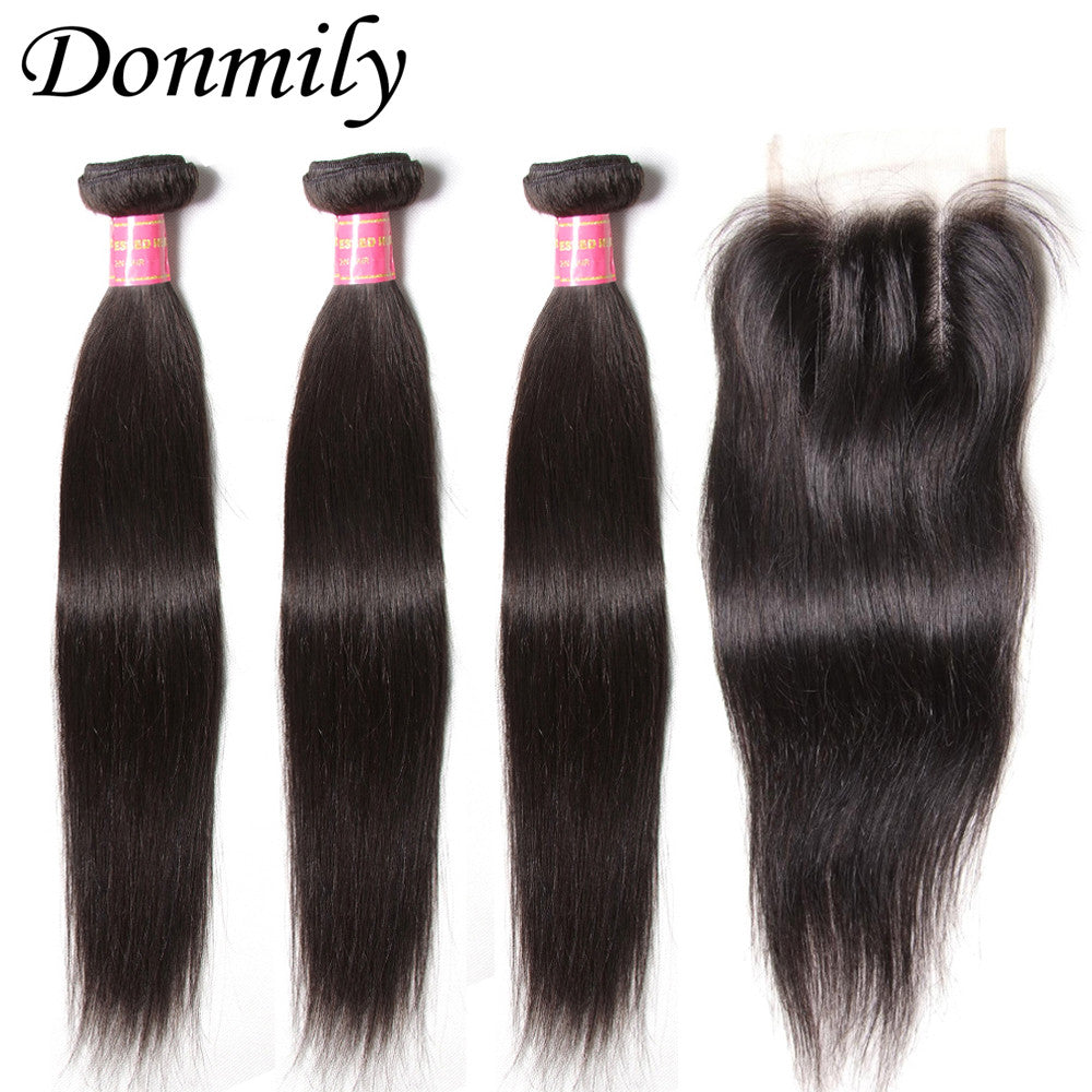 Donmily 3Pcs Human Virgin Brazilian Hair Straight Bundles With Lace Closure(Three Part)