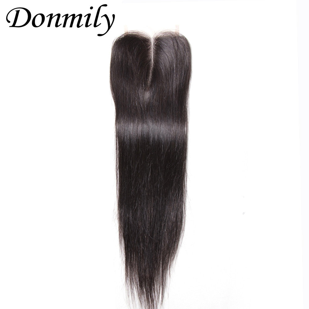 Donmily 3Pcs Human Virgin Brazilian Hair Straight Bundles With Lace Closure(Middle Part)