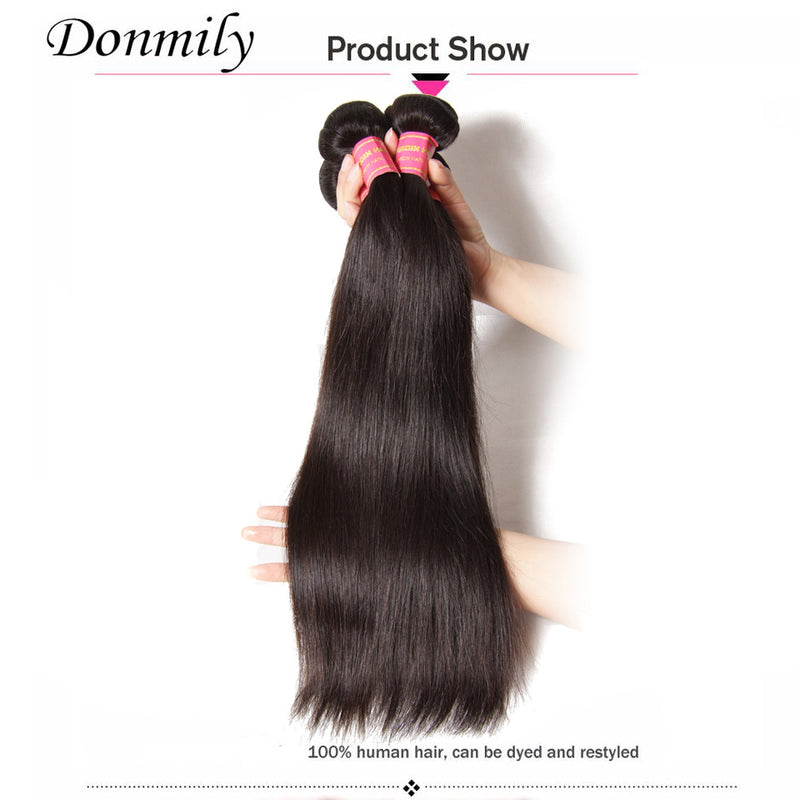 Virgin Indian Straight Hair 3 Bundles with Lace Frontal Closure-Donmily Hair